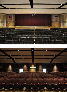 The Williams Center for the Arts Auditorium holds events with entertainment and performers on this stage.